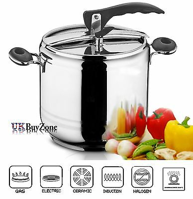 5 Litre Esila Black Pressure Cooker Stainless Steel Stockpot Induction Base