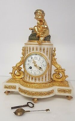 Rare Stunning French Ormolu And Marble Mantle Clocl