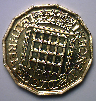 1970 Brass 3 Pence UK Britian Threepence Coin Proof #2 English