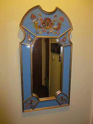 Vintage Robert M Weiss Reverse Blue Floral Painted Wall Hanging Mirror