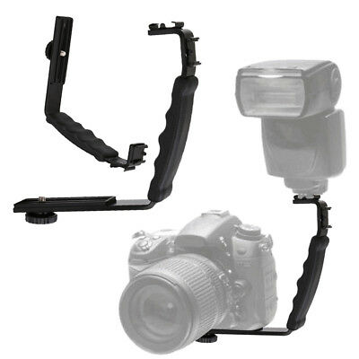 L-shaped Angle 2 Shoe Flash Bracket Holder DV Tray Dual Hot Shoe for DSLR Camera