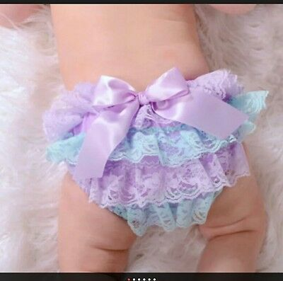 New * Babygirl Frilly Pants * Lilac & Green With Lilac Bow * 4-6 Months Uk Stock