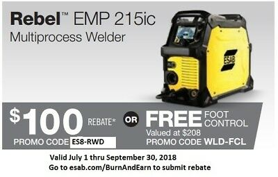 ESAB Rebel Multi-Process Welder MIG/Stick/TIG EMP 215ic  0558102240 *w/spoolgun*