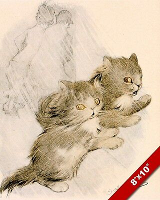 STUCK ON A PUSSYWILLOW BRANCH CAT KITTEN PET ART PAINTING REAL CANVAS PRINT