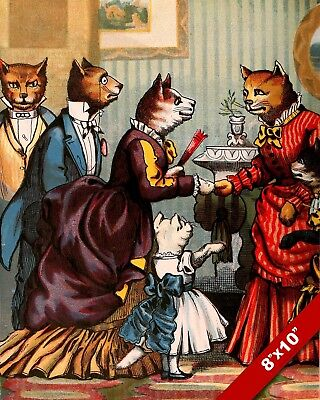 Fancy Victorian Era Cats Dinner Tea Party Kitten Art Painting Real Canvas Print