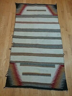 Vintage NAVAJO American Indian wool rug 1940s Southwest 98 yr old estate 32×60""