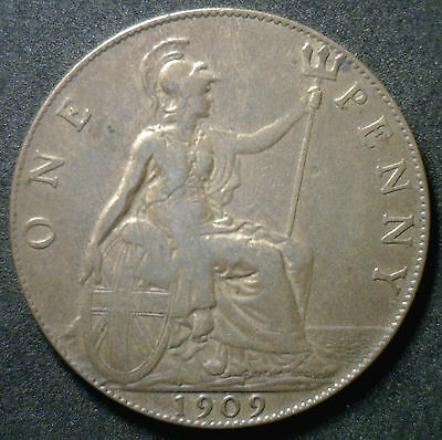 1909 Bronze One Penny Pence Great Britain UK Large Cent Coin XF