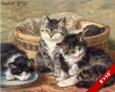 PLAYING IN THE SEWING BOX CAT KITTEN PET ANIMAL ART PAINTING REAL CANVAS PRINT