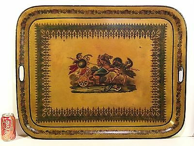"""Extra Large 32""""x 25"""" Antique 19th c. TOLE PAINTED TRAY Roman Gladiators"""