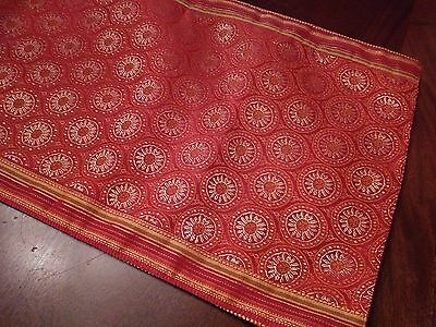 Floral Table Runner in Gold & Red Geometric Design Lovely Fabric 14x72 New
