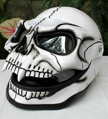 Motorcycle Helmet Skull Skeleton Visor Flip Up  White Knight  Full Face  S - XXL
