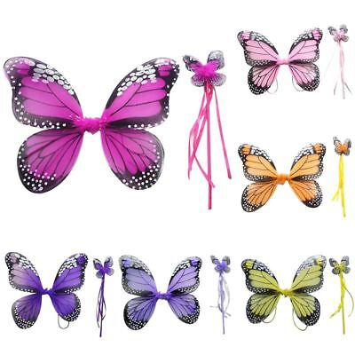 AU 2Pcs Kid Girl Fairy Butterfly Costume Wings Party Festival Cosplay Halloween