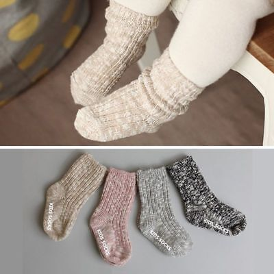 1pair Toddler Kids Baby Boys Girls Knitted Soft Socks Anti-Slip High Socks 0-4Y