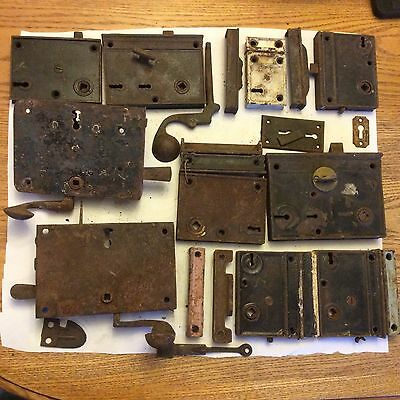 Antique Large group of door Skeleton Key Locks & Accesories