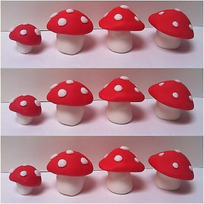 12 x Edible Mushroom Toadstool 3D cake topper x RED OR choose your own colours