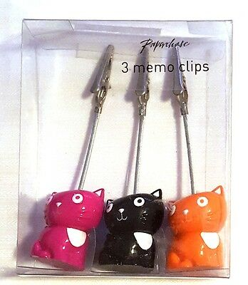 "Set of 3 Colorful 1.5"" Kitty Cat Standing Memo Clip Holders"
