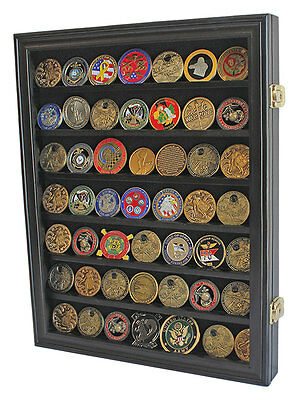 LOCKABLE Challenge Coin Display Case Poker Chip Shadow Box Cabinet COIN26L-BL