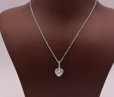 """Small Heart Shape CZ Pendant Necklace Real Sterling Silver 925 w/ 18"""" Chain"""
