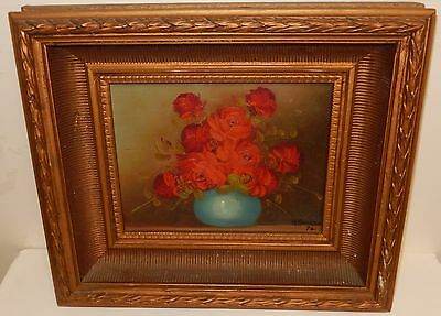 M.romero Original Oil On Board Red Floral Vase Painting