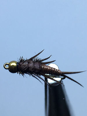 6QTY WIRED BROWN STONEFLY Fly fishing Flies size 16