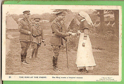 #n. Wwi  Postcard -  King George V At The Front Meeting A Nurse