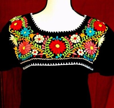 Embroidered Mexican Blouse Floral Women Oaxaca Top Peasant Hippie Gauze All Sz