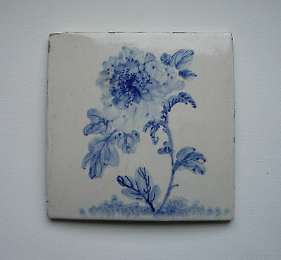 Antique Japanese Blue & White tile with impressed mark - Chrysanthemum Design