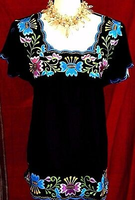 Mexican Blouse BLACK Frida Floral Embroidered front/back Boho Peasant L/XL NWT