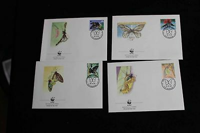 22710/ Fauna Tiere Animals WWF FDC Set Papua New Guiena Butterfly