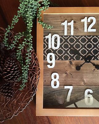 Large Square 48cm Drift Beach Clock/Rustic/Timber/Brand New