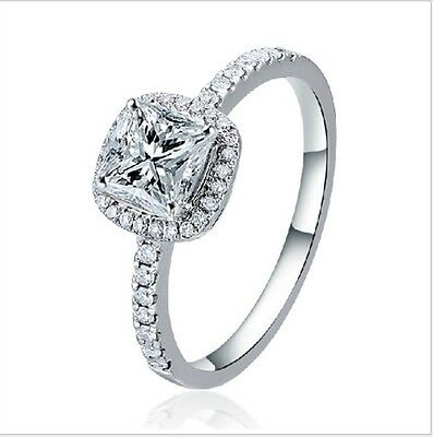 NEW Women Exquisite White Sapphire 925 Sterling Silver Wedding Ring Jewelry Gift