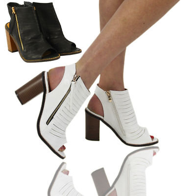 Women's Ladies Low Wedge Heel Sandals Zip Up Cut Out Shoes Ankle Strap Size 3-8