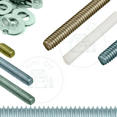 Threaded Bar Studding Ali / Zinc / Nylon / Stainless Steel A2 & A4 / Self Colour