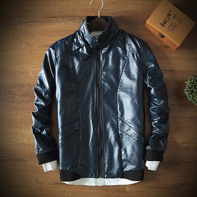 Men Jackets PU Leather Vintage Washed Thicken Warm Slim Fit Motorcycle Biker