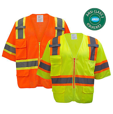 Class 3 Hi-Vis Two Tones  Short Sleeve Reflective Safety Vest -MV7811/12