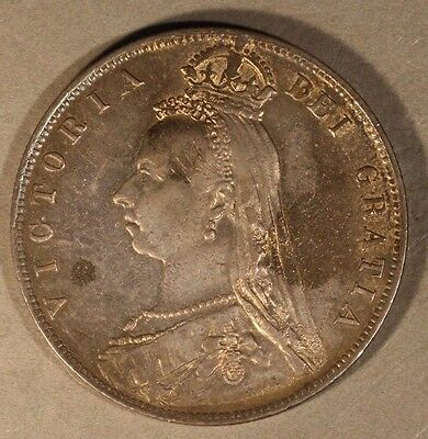 1890 Great Britain Veiled Head Silver Half Crown Nice  ** FREE U.S. SHIPPING **