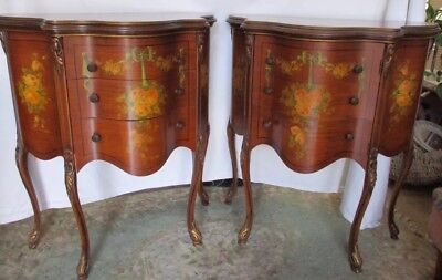 Pair Of Vintage Painted Bombe End Table Cabinets.