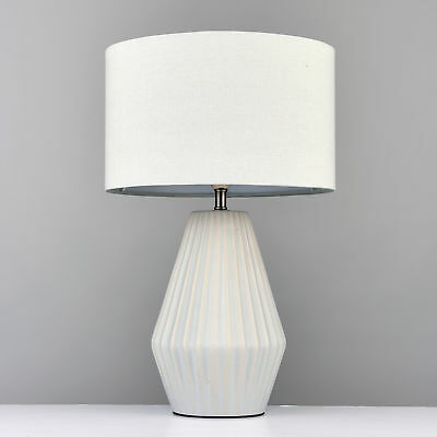 Contemporary textured chrome ceramic bedside table lamp for Bedside table lamp shades