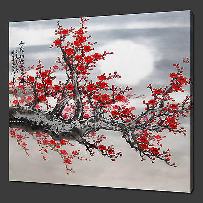 Moon Cherry Tree Red Blossom Chinese Wall Art Picture Canvas Print Ready To Hang