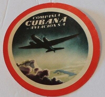 1950's Bar Paper Coaster used by Cubana Airlines HAVANA CUBA Cubana de Aviacion