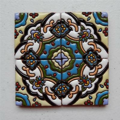 "Talavera Tile, 4 tiles 2X2 ""Unique Mandala Style"" 4X4 Combined Made in Puebla"