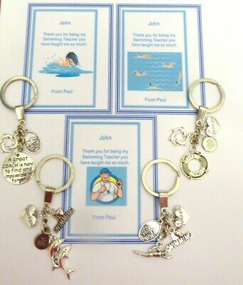 Thank you gift for Swimming Teacher or Coach Key Ring on Personalised Gift Card