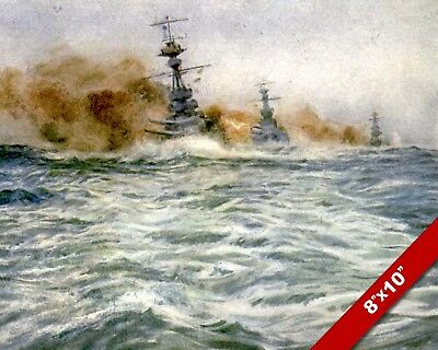 Atlantic Battleships Wwi World War 1 Military Art Painting Real Canvas Print