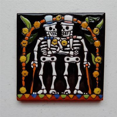 "Talavera Tile, ""Day of the Dead Catrins Getting Married"" Made in Puebla"