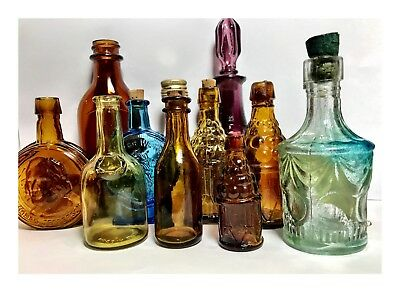 Vintage Mixed Miniature Bitters Colorful Glass Bottles Lot Wheaton Bitters