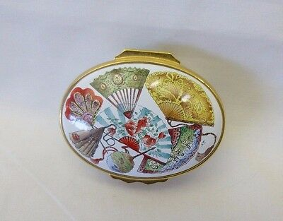 """Halcyon Days Enamel Box England Colorful Fans on Top and Sides 2"""" L  X  1.75"""" W"""
