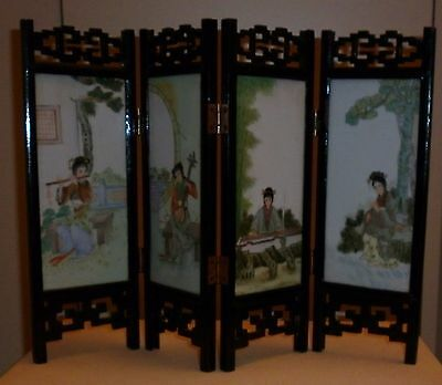 Vintage Chinese Hand Painted Porcelain Table Screen Excellent Condition