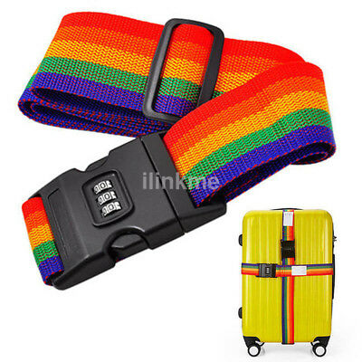 Travel Luggage Suitcase Cross Strap Baggage Bag Backpack Belt Coded Lock US