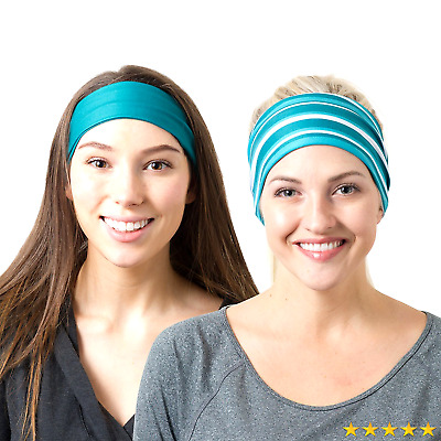 Teal Solid and Teal Striped Headbands
