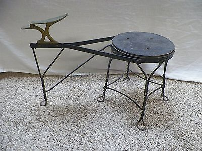 Old Vintage Antique Wrought Iron Shoe Shine Stool Chair Bench
